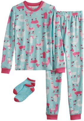 Cuddl Duds Girls 4-10 Top & Bottoms Pajama Set with Socks