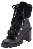 Christian Louboutin Fanny Leather Fur-Trim Red Sole Combat Boot