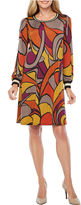 MSK Long Sleeve Geometric Shift Dress