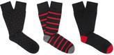 Corgi Three-pack Patterned Cotton-blend Socks - Black