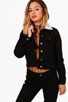 Boohoo Petite Victoria Borg Collar Denim Jacket black
