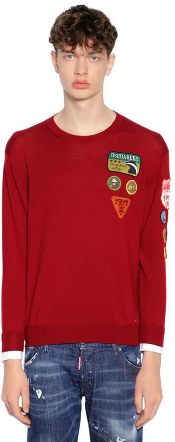 DSQUARED2 Patch Wool Knit Sweater W/ Shirt Cuffs