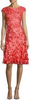 Theia Cap-Sleeve 3D Petal Cocktail Dress