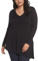 Sejour Plus Size Women's V-Neck Asymmetrical Tunic