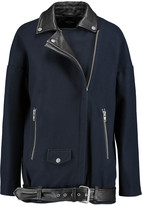 Muu Baa Muubaa Leather-trimmed wool-blend coat