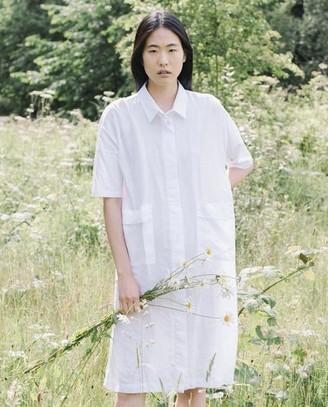 Beaumont Organic Natasha May Organic Cotton Linen Shirt Dress In Off White - Off White / Medium