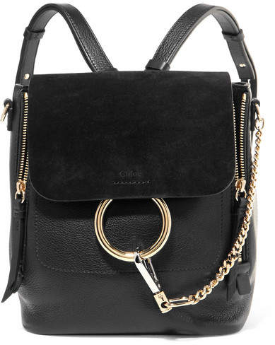 f80340b8696 Faye Small Textured-leather And Suede Backpack - Black