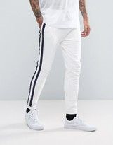 Asos Skinny Joggers With Taping In White