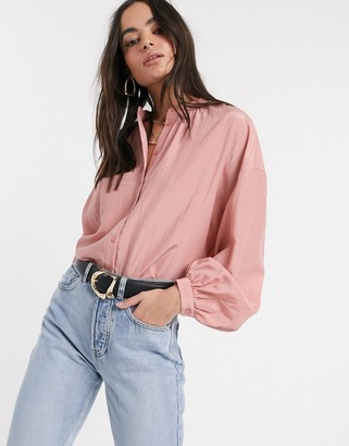 Vila shirt with exaggerated sleeves in pink