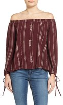 Lush Women's Embroidered Off The Shoulder Blouse
