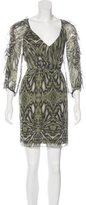 Tibi Abstract Print Silk Dress