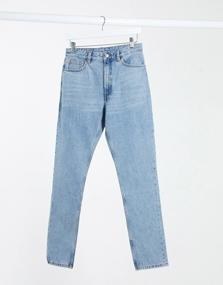 Monki Kimomo Xtra Long high waist mom jeans with organic cotton in mid blue