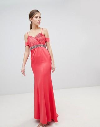 Little Mistress Off Shoulder Maxi Dress With Embellished Waist-Pink