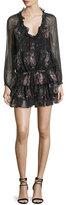 Elizabeth and James Beatriza Long-Sleeve Layered-Skirt Dress, Black/Multi
