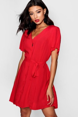 boohoo Flutter Sleeve Woven Tea Dress