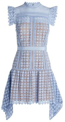 Self-Portrait Lace Handkerchief-Hem Mini Dress