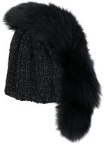 CA4LA fur stripe beanie - women - Fox Fur/Acrylic/Wool - One Size