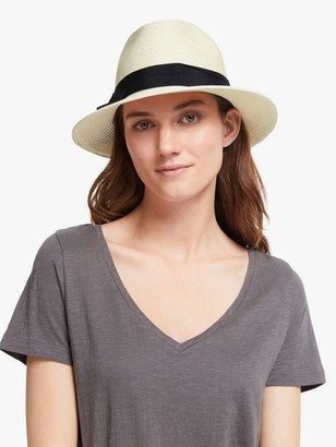John Lewis & Partners Adjustable Bow Detail Braided Fedora Hat, Cream/Black