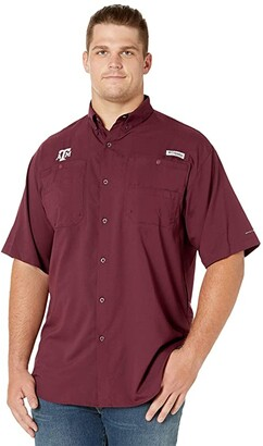 Columbia College Big Tall Texas AM Aggies Collegiate Tamiamitm II Short Sleeve Shirt (Maroon) Men's Short Sleeve Button Up