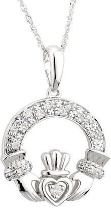 Solvar 14K Diamond Claddagh Pendant w/ Chain