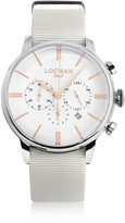 Locman 1960 Stainless Steel Men's Chronograph Watch w/White Canvas Strap