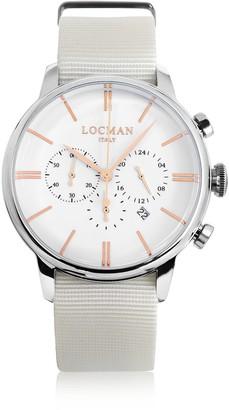 Locman 1960 Stainless Steel Men's Chronograph Watch w/White Canvas Strap