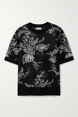 Dries Van Noten Oversized Metallic Floral-jacquard Cashmere-blend Sweater - Black