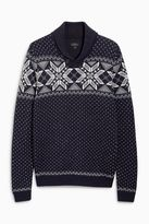 Navy Fairisle Pattern Overhead Shawl Neck Christmas Jumper