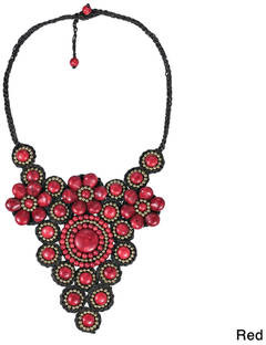 Aeravida Handmade Elite Floral Attention Synthetic Coral Stone Mosaic Necklace