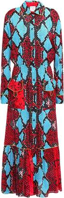 Stella Jean Snake-print Crepe Maxi Shirt Dress