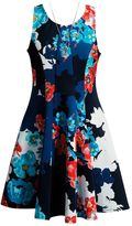 Girls 7-16 Mackenzie X Emily West Floral Printed Scuba Dress with Necklace