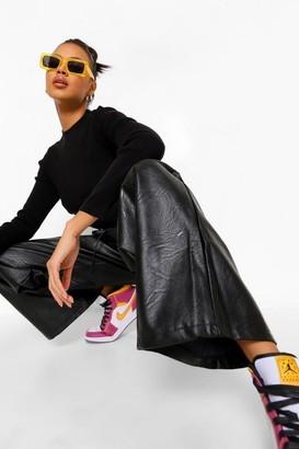 boohoo Wide Leg Pu Piping Detail Luxe Jogger