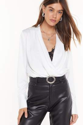 Nasty Gal Womens Drape Two Plunging Satin Blouse - White - L
