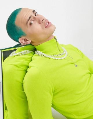 ASOS DESIGN cotton half zip jumper in lime green