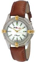 Peugeot Men's GloBrite Classic Brown Leather Strap Watch
