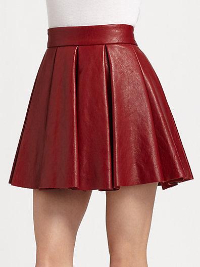 Alice + Olivia Box-Pleat Leather Skirt