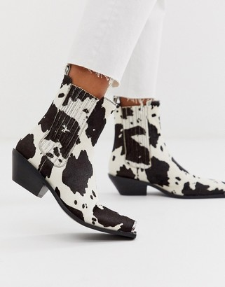 Asos DESIGN Ambition premium leather metal toe western boots in cow pony