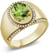 Gem Stone King 3.79 Ct Oval Green Peridot 18K Yellow Gold Plated Silver Men's Ring