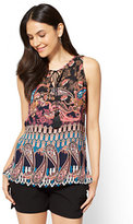 New York & Co. Tassel-Accent Split-Neck Top - Tall