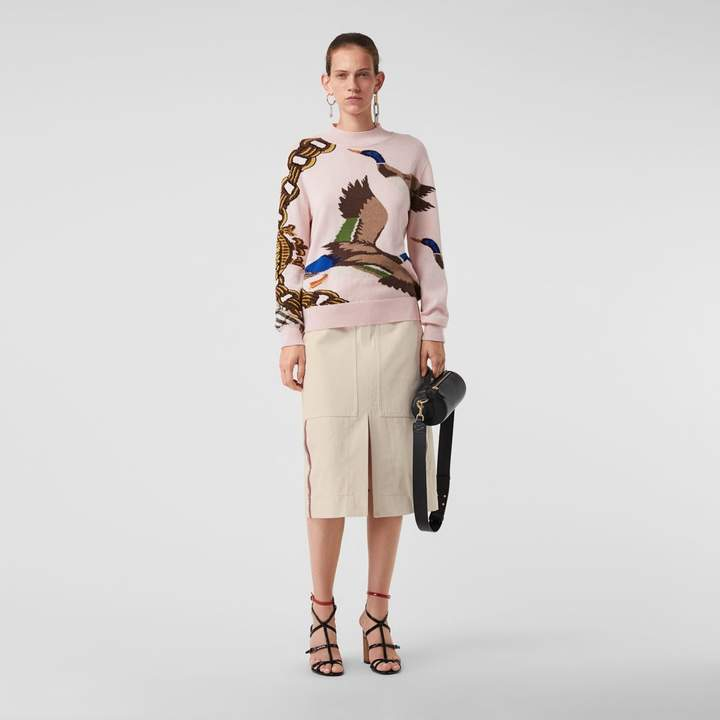 Burberry Stripe Detail Cotton A-line Skirt , Size: 08, White