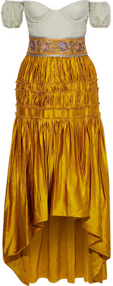 Brock Collection Off-the-shoulder Woven-paneled Cotton And Silk-blend Taffeta Gown