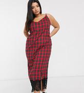 Daisy Street Plus midi slip dress with lace trim in tartan