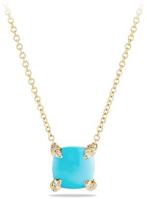 David Yurman Chatelaine Pendant Necklace with Gemstone & Diamonds in 18K Yellow Gold/7mm