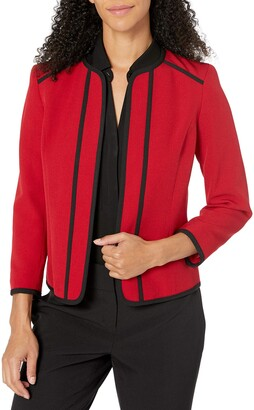 Kasper Women's Jewel Neck Fly Away Stretch Jacket with Piping Detail