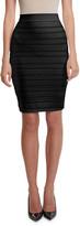 Balmain High-Waist Logo-Banded Pencil Skirt