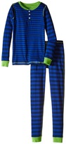 Hatley Lime & Blue Stripe Henley Pajama (Toddler/Little Kids/Big Kids)