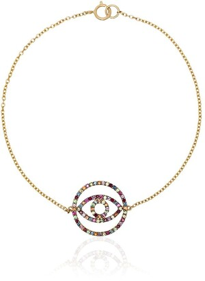 Ileana Makri 18kt yellow gold Rainbow sapphire circle eye bracelet