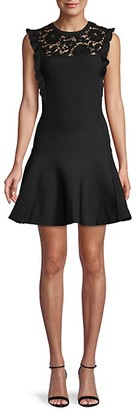 Valentino Waffle-Knit Lace Fit--Flare Dress