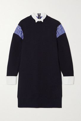 Sacai Layered Poplin-paneled Cotton-blend Jersey Mini Dress - Navy