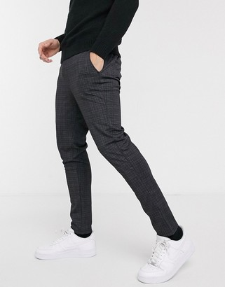 Brave Soul rock tapered drawstring trousers in check-Grey